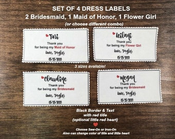 SET 4 Dress Labels for Bridal Party - Ink Printed Fabric Labels, Bag Labels, From Bride, Dress Tags, Sew or Iron, 3 Sizes, Scalloped Edges