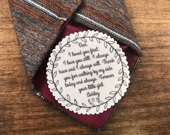 "FATHER of THE BRIDE Tie Patch - I Loved You First, I Love You Still - Sew on, Iron On - 2.5""  or 2"" Wide Round Wreath Shape Design"