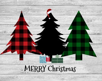 Merry Christmas Trees Santa Hat and Gifts For Sublimation Printing, Buffalo Plaid PNG File, 300 DPI, DTG printing, Instant Digital Download