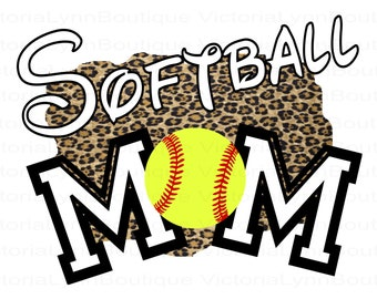 Softball Mom Leopard Design PNG For Sublimation Printing, Sports Png, Softball Png, Mom Png, T-Shirt Png, 300 DPI, Digital Download