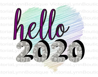 New Year's Hello 2020 For Sublimation Printing, PNG File, 300 DPI, DTG printing, Instant Digital Download