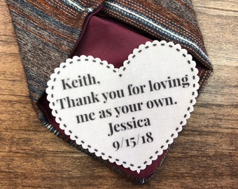 "STEPFATHER TIE PATCH - Father of the Bride, Gift for Him, Dot Border, Choose Message, Font - 2.25"" Heart Shaped, Sew On Patch, Iron On Patch"