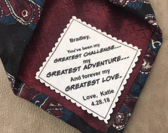 """Groom Tie Patch, From the Bride, Sew or Iron On, SCALLOPED EDGE, 2"""" Wide Tie Patch, My Greatest Challenge, Greatest Adventure, Greatest Love"""