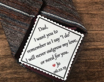 "TIE PATCH for DAD - Sew On or Iron On - 2.5"" Wide -  Remember As I Say ""I Do"" - Father of the Bride, Personalized Wedding, 15 Fonts!"