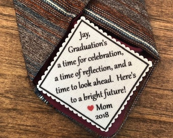 "MOTIVATIONAL TIE PATCH - A Time for Celebration, Time of Reflection - Sew or Iron On, 2.5"" Wide, Graduation Gift, High School, College Grad"