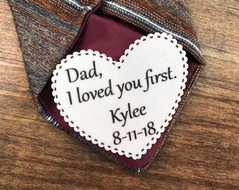 "2.25"" Heart Shaped Dad Tie Patch, Dot Border, Choose Message, Font, Sew On, Iron On, Father of the Bride, Father of the Groom or Groom"
