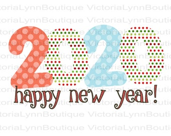 Happy New Year 2020 in Polka Dots For Sublimation Printing, PNG File, 300 DPI, DTG printing, Instant Digital Download
