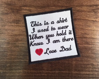 Embroidered Memory Patch - CHOOSE COLORS - Border - Text - Fabric - 15 Patch Colors, This Is a Shirt - Sew or Iron On, 4 Inch, Add Heart