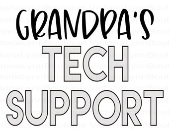 Kids T-Shirt Design - Grandpa's Tech Support PNG For Sublimation Printing, Tech Savvy Png, T-Shirt Design, DTG Printing, Digital Download