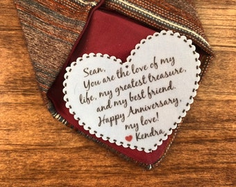 "ANNIVERSARY GIFT for HIM - From Wife to Husband, Sew, Iron, 2.25"" Wide Heart-Shaped, Love of My Life, My Greatest Treasure, My Best Friend"