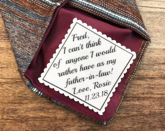 "FATHER of the GROOM Gift - From the BRIDE, 2"" or 2.5"" Wide, I Can't Think of Anyone I Would Rather Have As My Father-in-Law, Sew On, Iron On"