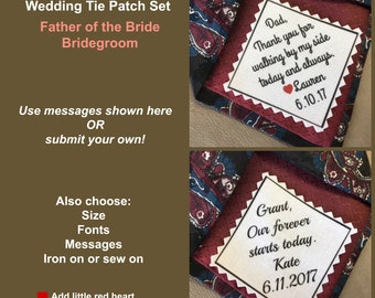 "TIE PATCH SET - Father of the Bride Patch and Groom Patch, Sew On, Iron On, 2.5"" or 2"" Wide, Thank You for Walking, Our Forever Starts Today"