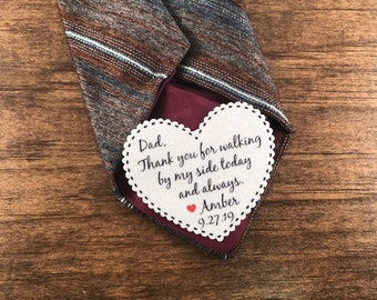 "Sew or Iron On Patch ON SALE - Groom Patch or Dad Tie Patch, Father of Bride, 2.25"" Heart Shaped Patch, Dot Border, Choose Message and Font"
