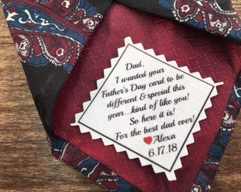 "FATHER'S DAY CARD Tie Patch - Ink Printed Patch - 2"" or 2.5"" Wide Diagonal Patch, Your Father's Day Card, Personalized Patch, Sew or Iron On"