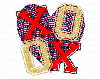 XOXO PNG Patriotic Heart and Glitter For Sublimation Printing, Valentines Day, 4th of July Png, tshirt png, Instant Digital Download