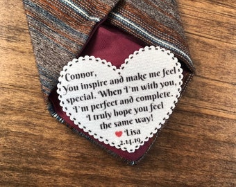 "When I'm With You VALENTINE'S DAY Tie Patch, Gift for Him, Sew, Iron On, 2.25"" Heart Shape, Ink Print"