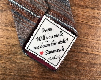 """FATHER of the BRIDE GIFT, Tie Patch, Sew On, Iron On, Personalized Patch, 2.5"""" Wide, Will You Walk Me Down the Aisle?"""