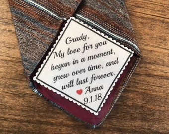 "GROOM'S TIE PATCH in Sew or Iron On From the Bride - My Love for You Began In a Moment - 2.5"" Wide Patch, For the Groom, 15 Fonts!"