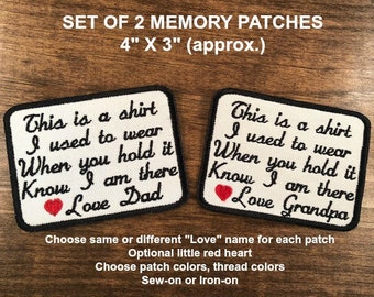 """SET OF 2 Embroidered Memory PATCHES for Shirt Pillows, This is a shirt, 4"""" X 3"""" size, Choose Patch Colors, Thread Colors & Love Names"""