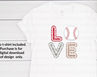 Love Baseball Valentine Print For Sublimation Printing, PNG File, 300 DPI, DTG printing, Instant Digital Download
