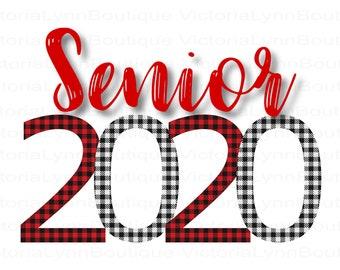 Buffalo Plaid Senior 2020 PNG Design For Sublimation Printing, Senior Png, Shirt Design, T-Shirt Png, Tote Bag Png, Instant Digital Download