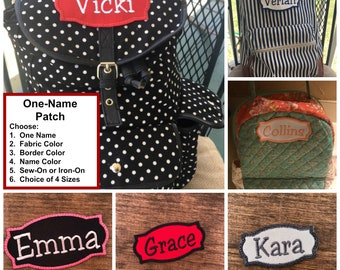ONE NAME PATCH - Solid Color Fabric, Diaper Bag Patch, Lunch Tote Patch, Iron On, Sew On, Style 17, Applique, Choose Fabric & Thread
