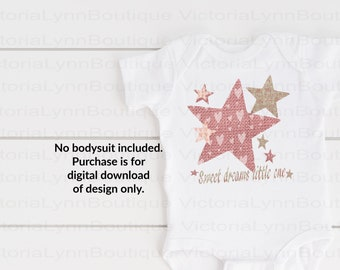 Sweet Dreams Little One Hearts and Stars For Sublimation Printing, PNG File, 300 DPI, DTG printing, Instant Digital Download