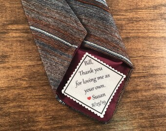 "STEPFATHER of the BRIDE Tie Patch From the Bride - Sew on or Iron On Patch, 2"" or 2.5"" Wide Patch, Thank You For Loving Me As Your Own"