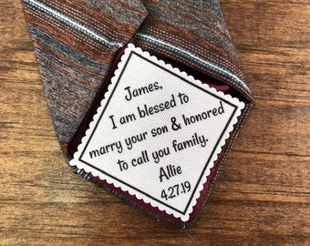 "FROM THE BRIDE to Father of the Groom Tie Patch - Sew, Iron On, 2"" or 2.5"" Wide, I Am Blessed to Marry Your Son & Honored to Call You Family"