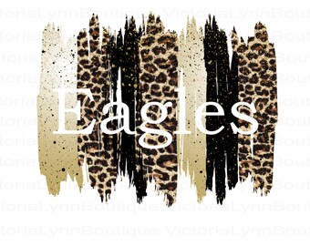 Eagles Brushstrokes and Gold Leopard Design For Sublimation Printing, PNG File, 300 DPI, DTG printing, Instant Digital Download