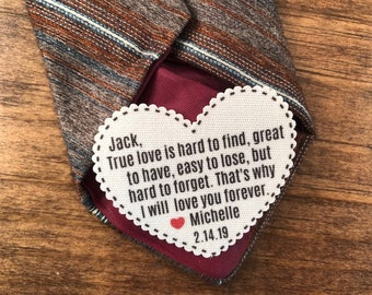 "True Love Is Hard To Find VALENTINE'S DAY PATCH - Tie Patch, Vest Patch, Gift for Him, Sew or Iron On, 2.25"" Heart Shape, Ink Print"