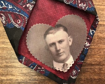 "MEMORY PATCH - Memory Tie Patch, Photo Patch, In Memory Of, Custom Patch, Custom Photo, Sew On, Iron On, 2.25"" Wide Heart Shaped Patch"