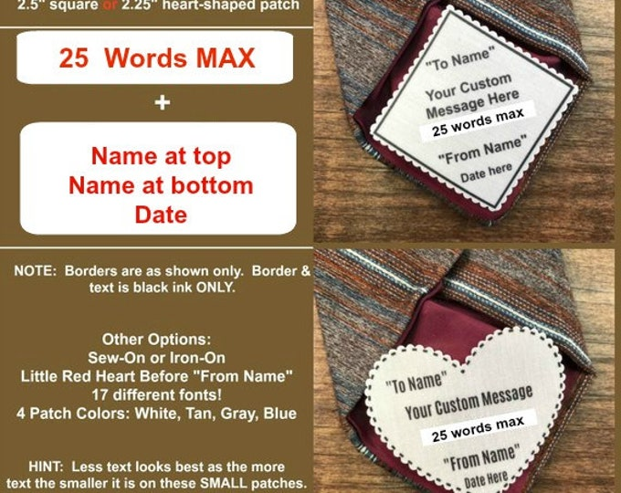 "Featured listing image: CUSTOM TIE PATCH - Personalized Message, Father of the Bride, Father of the Groom, Little Red Heart Option, 2.5"" Square or 2.25"" Heart Shape"