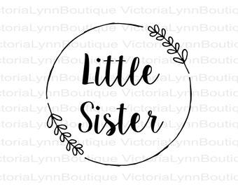 Little Sister PNG Partial Wreath Design For Sublimation Printing, Sister T-Shirt Design, DTG printing, Instant Digital Download