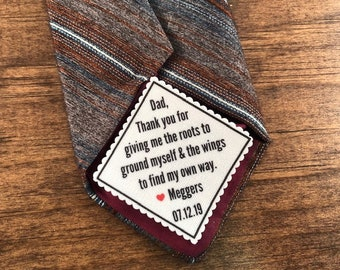 FATHER'S DAY GIFT - Tie Patch - Sew or Iron On, 2 Sizes - Diagonal Message, Choose Font, Thank You for Giving Me the Roots to Ground Myself