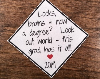 "GRADUATION CAP PATCH - Graduation Mortar Board Patch - Looks Brains & Now a Degree, 3.5"" or 4.75"" Across Diamond Shape, Ink Printed"