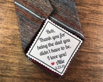 "STEP DAD Tie Patch - Sew On or Iron On, 2"" or 2.5"" Wide Diamond Shaped Patch, Thank You For Being the Dad You Didn't Have to Be, I Love You!"