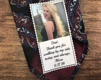 "Tie Patch, PHOTO PATCH, Custom Patch, Custom Photo, Father of the Bride, 1.75"" x 3.5"", Tie Patch for Dad, Thank You For Walking By My Side"
