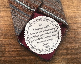 "GROOM TIE PATCH  - I Choose You, Without Pause, Without Doubt, In a Heartbeat, Sew on, Iron On - 2.5""  or 2"" Wide Round Wreath Shape Design"