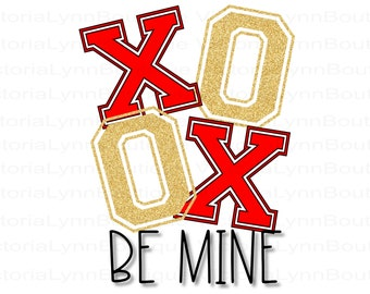 Gold Glitter XOXO Be Mine For Sublimation Printing, Valentines Day, Be Mine Png, Heart Png, XOXO Png, Shirt Design, Instant Digital Download