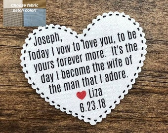 """GROOM'S TIE PATCH - From the Bride, Sew or Iron On, Gift for Him, Today I Vow, Scalloped Edge, 2.25"""" Heart Shaped, Dot Border, Choose Font"""