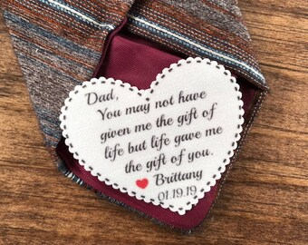 "TIE PATCH - STEPFATHER Patch, Stepdad Gift, Sew, Iron On, Life Gave Me the Gift of You, Dot Border, 2.25"" Heart Shape, Father of the Bride"