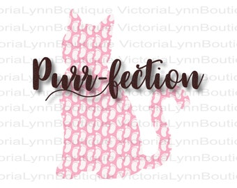 Purr-fection Girl Cat For Sublimation Printing, Baby Reveal Girl, Png File, 300 DPI, DTG printing, Instant Digital Download