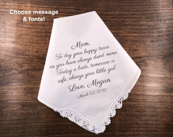 Wedding Hankie Personalized for Mother of the Bride - SCALLOPED CORNER CROCHET Style, Ink Printed, Mom Gift, Choose Message and Font