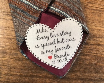 "GROOM'S TIE PATCH From the Bride in Sew On or Iron On, Every Love Story Is Special, 2.25"" Heart Shape, For the Groom, 15 Fonts!"