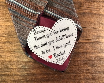 "STEP FATHER Tie Patch - Sew On or Iron On, 2.25"" Wide Heart Shaped Patch, Thank You For Being the Dad You Didn't Have to Be, I Love You!"
