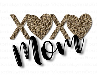 XOXO Mom Leopard Print For Sublimation Printing, Valentines Day, Hearts Png, XOXO Png, Shirt Design, DTG printing, Instant Digital Download