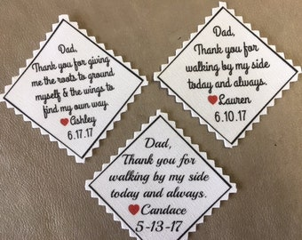 "Personalized TIE PATCH -  2"" Wide Across Middle, Father of Bride, Father of Groom, Groom Tie Patch, Little Heart Accent, Sew or Iron On"
