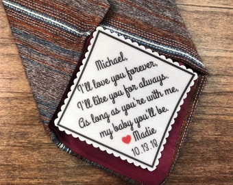 "GROOM TIE PATCH -  From the Bride, Sew or Iron On, 2"" or  2.5"" Wide, I'll Love You Forever, I'll Like You For Always, My Baby You'll Be"