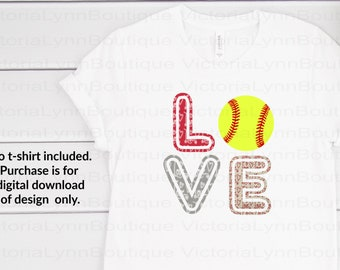 Love Softball Valentine Print For Sublimation Printing, PNG File, 300 DPI, DTG printing, Instant Digital Download